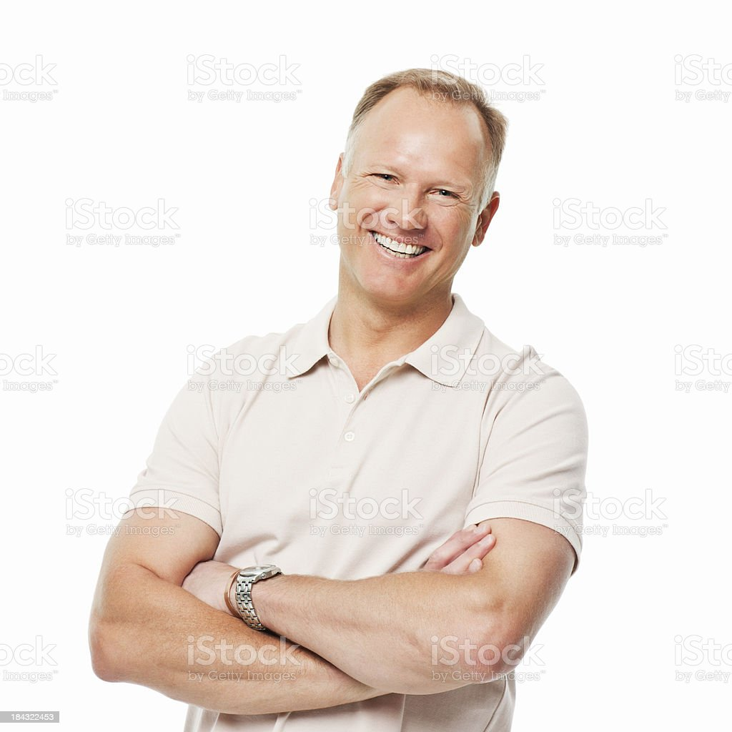 Confident Man With Crossed Arms - Isolated royalty-free stock photo