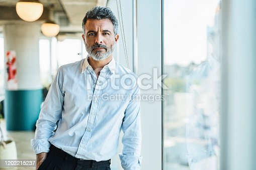 Portrait of confident mature businessman. Male business professional is standing by window. He is at coworking office.