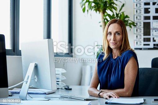 Portrait of confident mature businesswoman sitting at computer desk