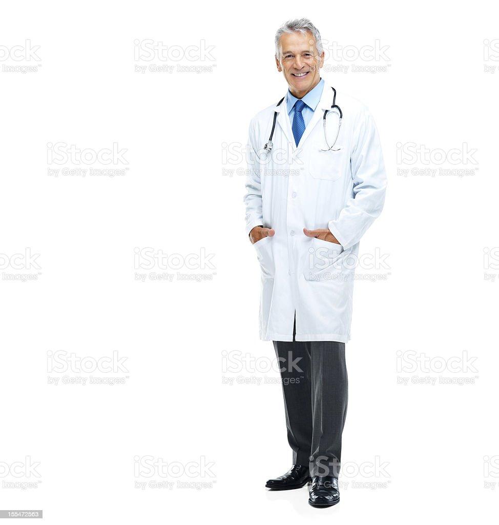 Zuversichtlich Ärztin, isoliert auf weiss – Foto