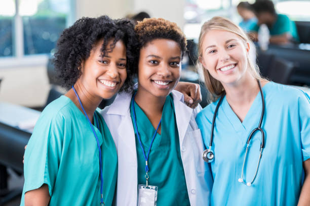 Confident medical school friends stock photo