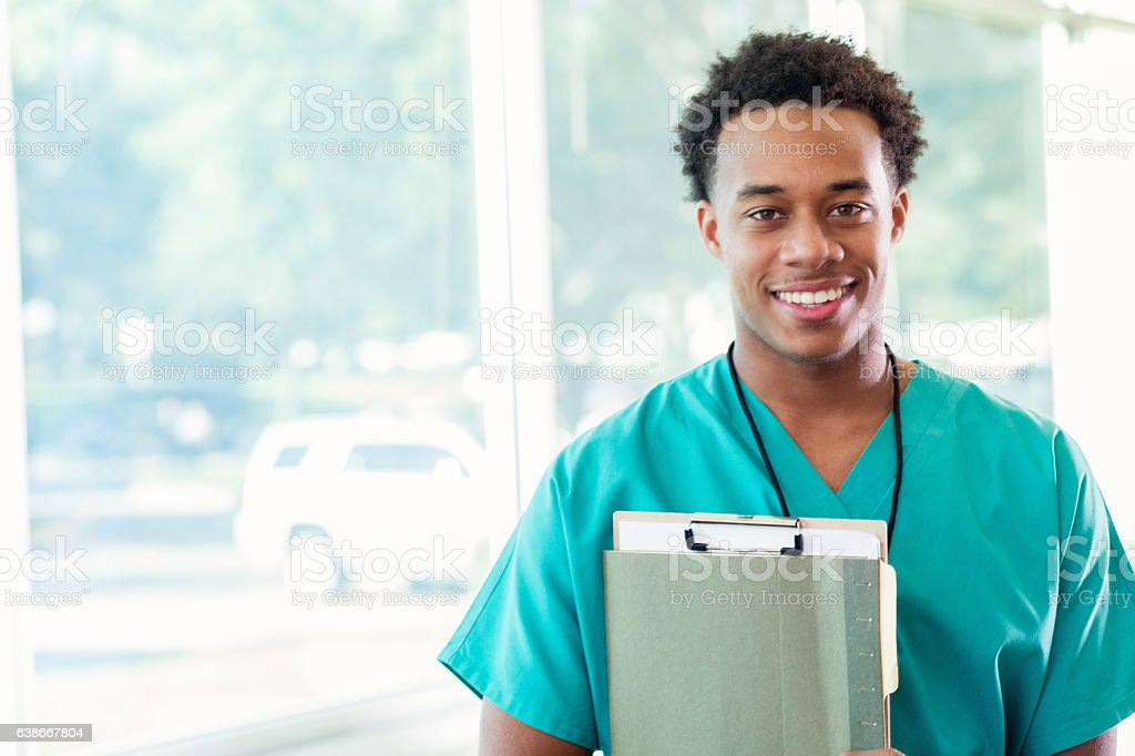 Confident medical student before class stock photo