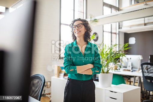 Confident mid adult female standing with her arms crossed. Businesswoman looking away and smiling while standing in office.