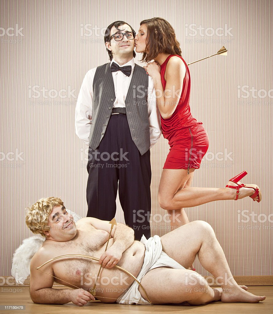 confident nerd found love with cupid help for Valentine Day stock photo