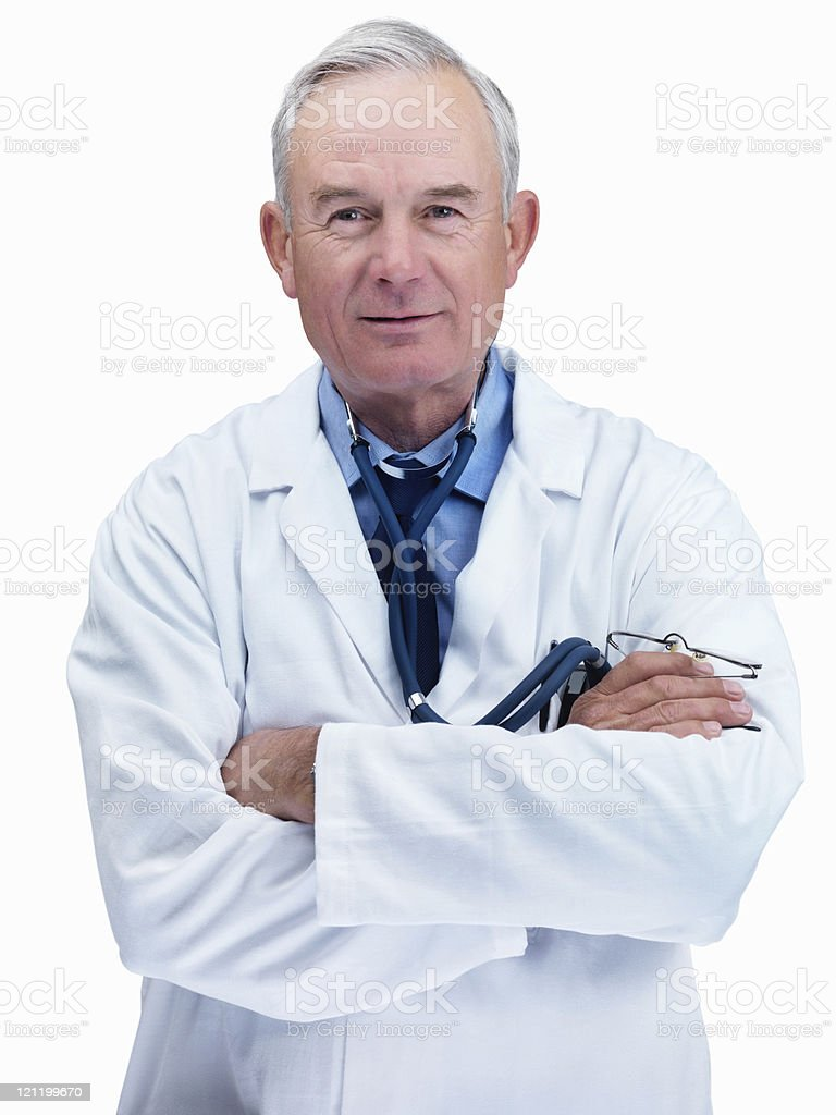 Confident old doctor smiling isolated on white royalty-free stock photo