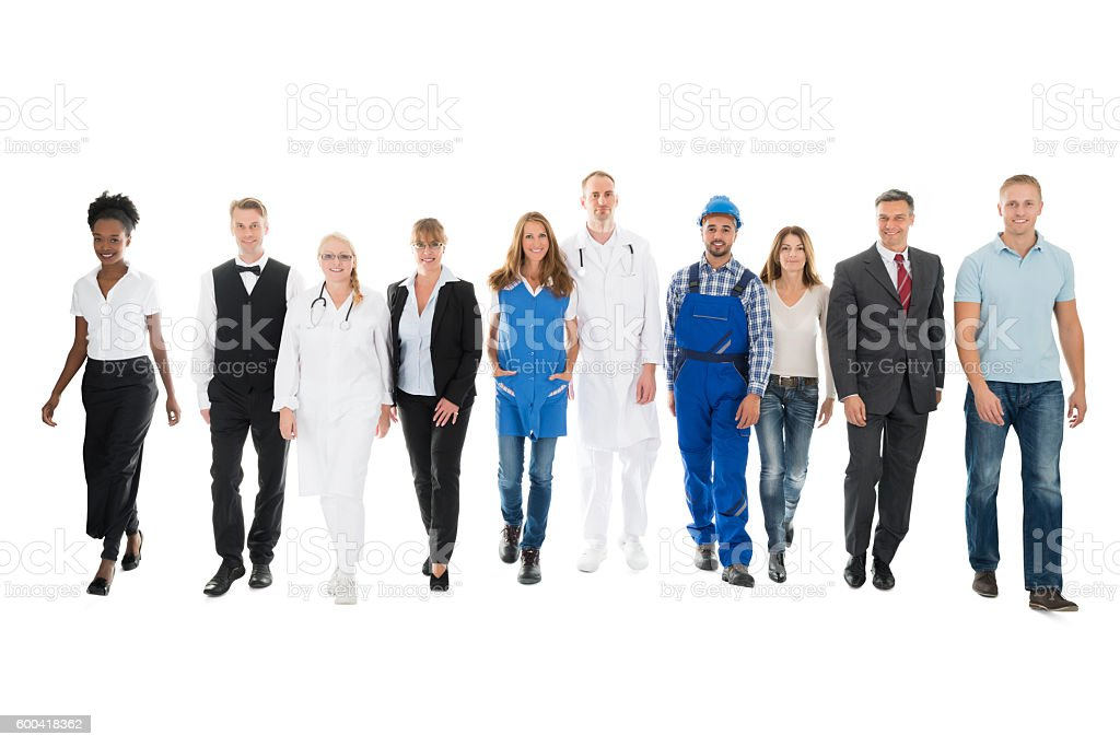 Confident People With Various Occupations Walking In Row stock photo
