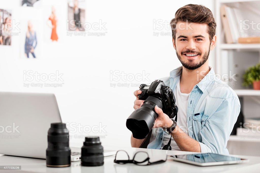 COnfident photographer. stock photo