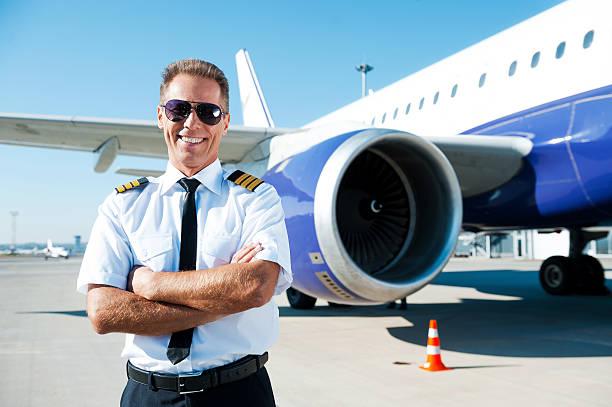 Confident pilot. stock photo