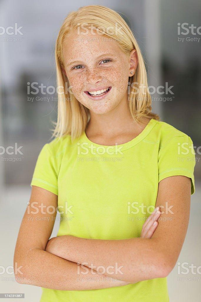 confident preteen girl portrait stock photo