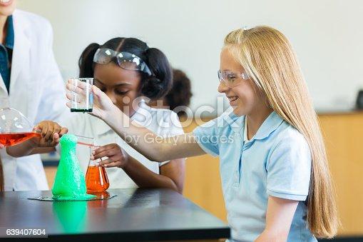 istock Confident private school girl participates in chemistry experiment 639407604