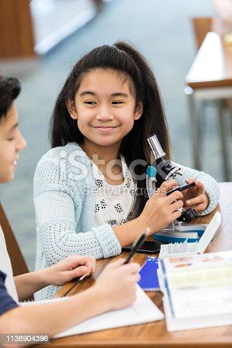 istock Confident schoolgirl using microscope 1138904396