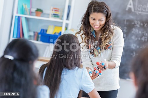 istock Confident science teacher talks with students 666835814