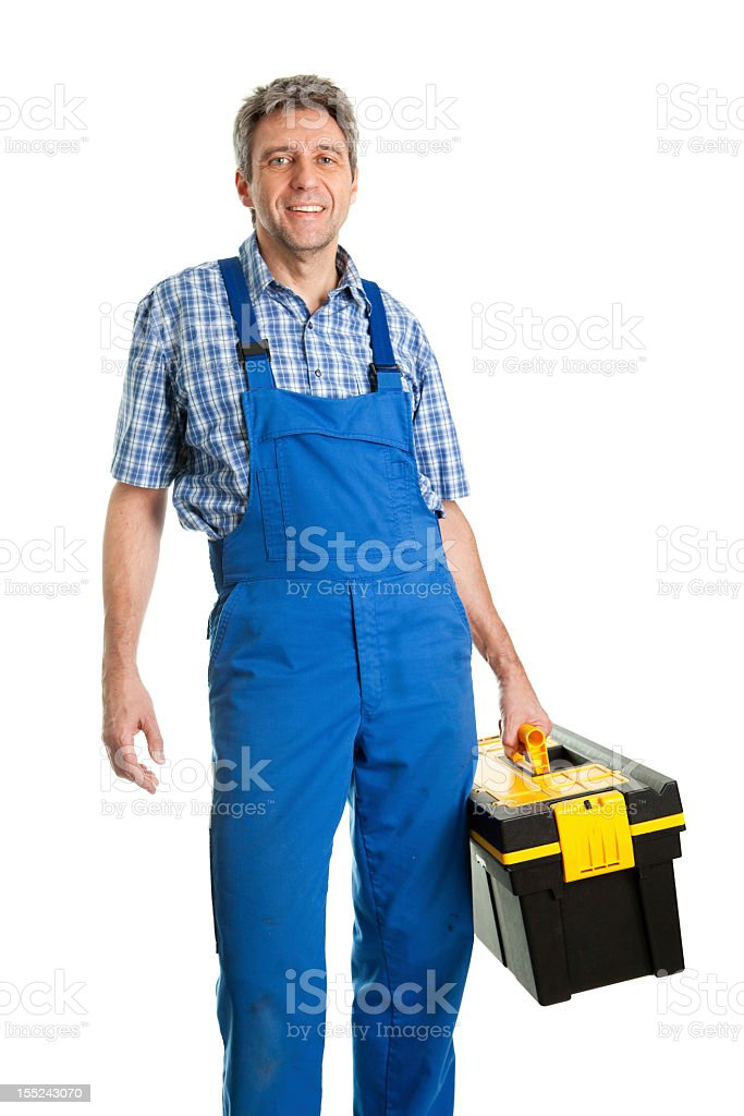 Confident service man with toolbox isolated on white stock photo