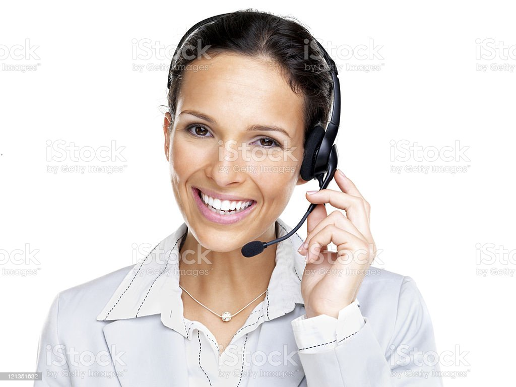 Confident smiling female agent with black headset royalty-free stock photo