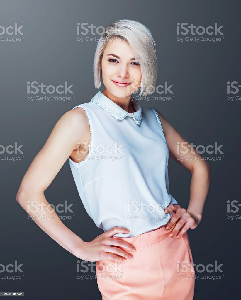 confident smiling woman stock photo