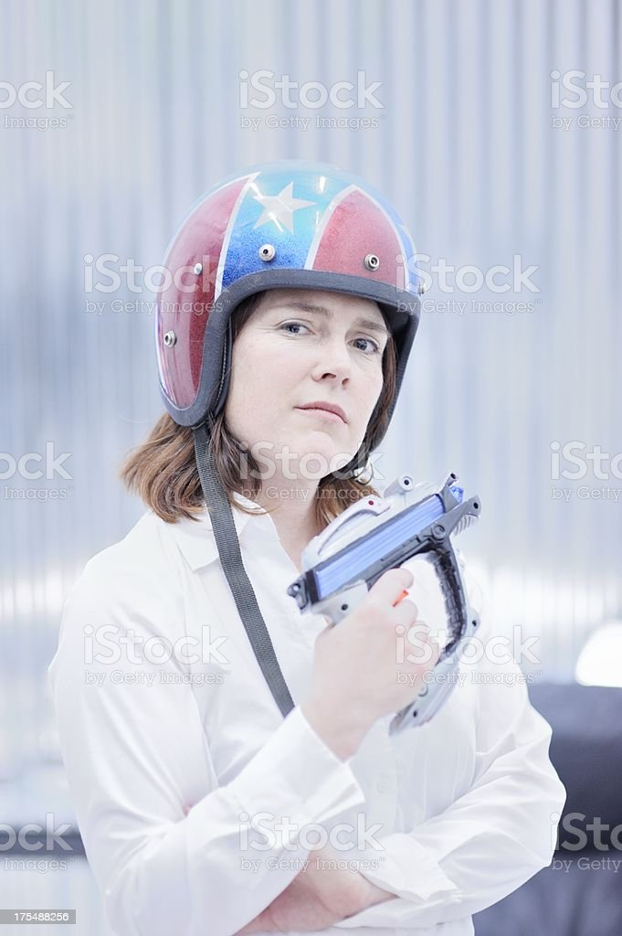 Confident Space Woman with a Gun royalty-free stock photo