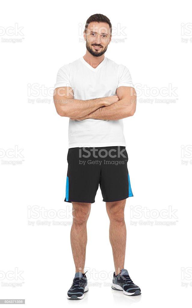 Confident sportsman stock photo