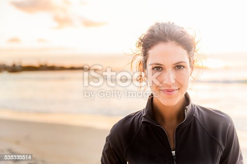 istock Confident sporty woman at beach 538335514