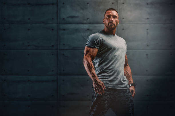 Confident, Strong, Muscular Men Standing stock photo