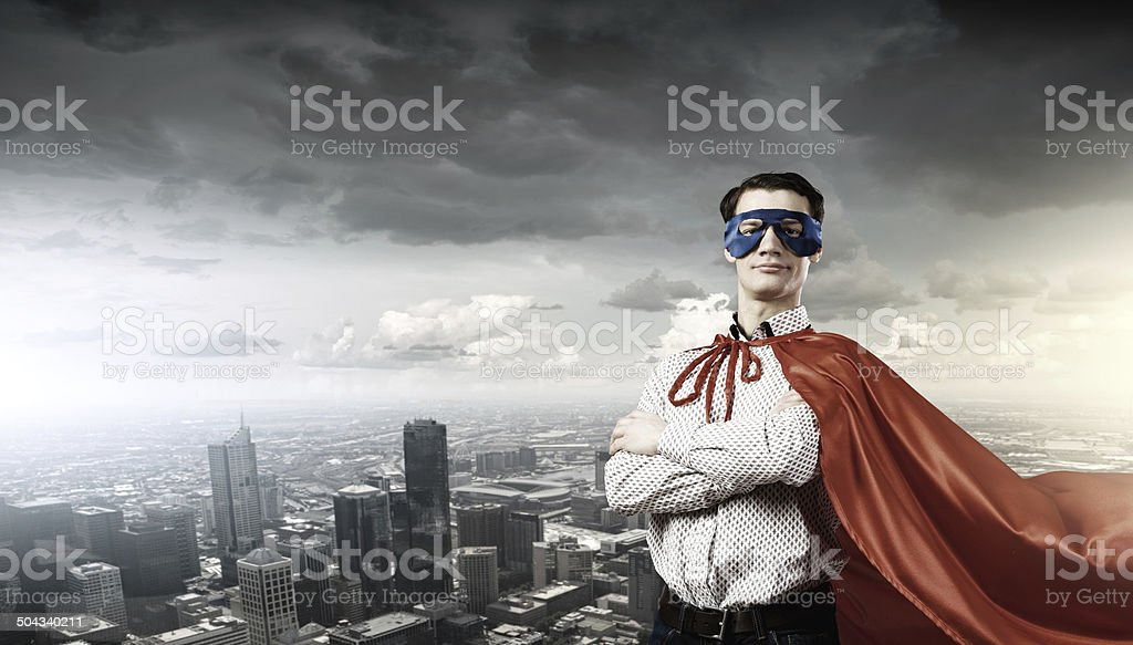 Confident superhero stock photo