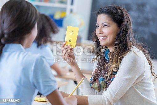 istock Confident teacher works with student 664838242