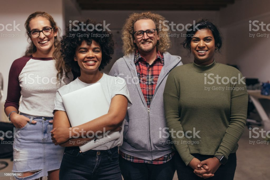 Confident tech startup team royalty-free stock photo