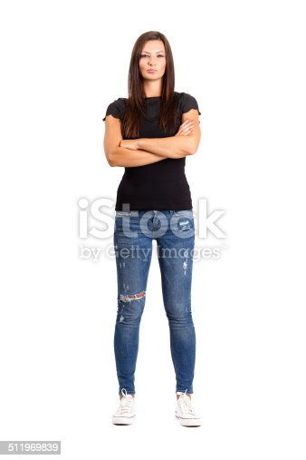 istock Confident unhappy woman with crossed or folded arms. 511969839