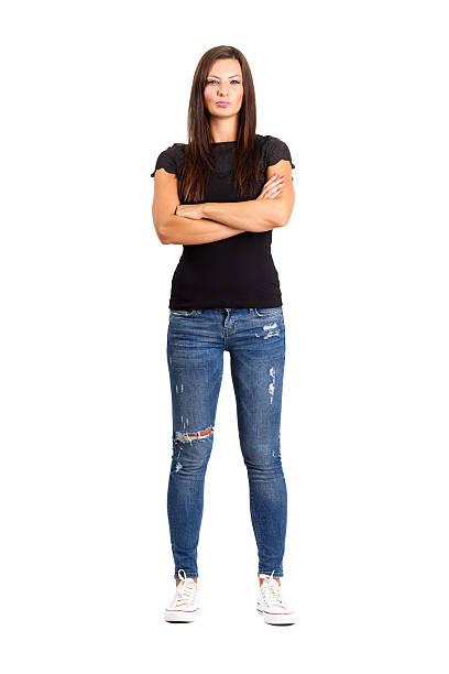 Fiducioso felice donna con le braccia incrociate o piegata. - foto stock