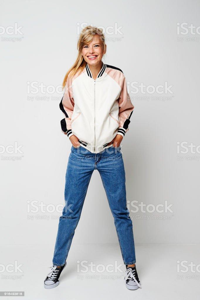 Chica de confianza varsity foto de stock libre de derechos