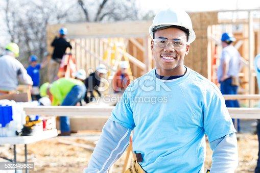 istock Confident volunteer construction foreman at work site 532345662