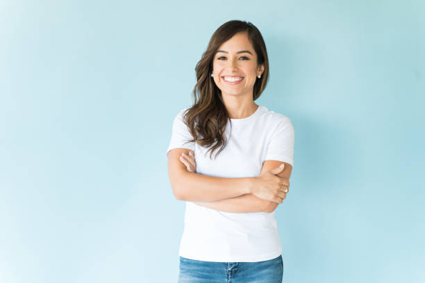 Confident Woman Over Isolated Background stock photo