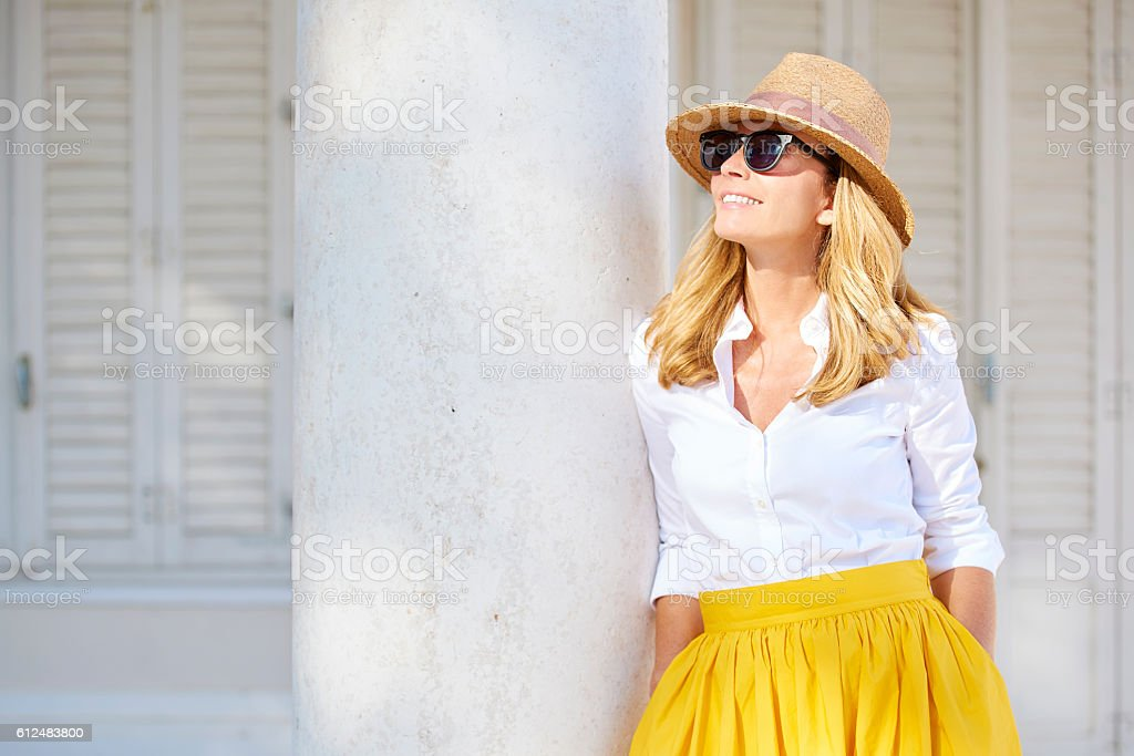 Confident woman smiling stock photo