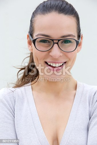 istock Confident woman smiling with glasses 501211353