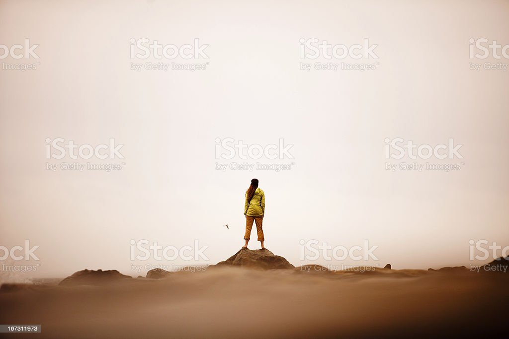 Confident woman standing on the edge of ocean stock photo