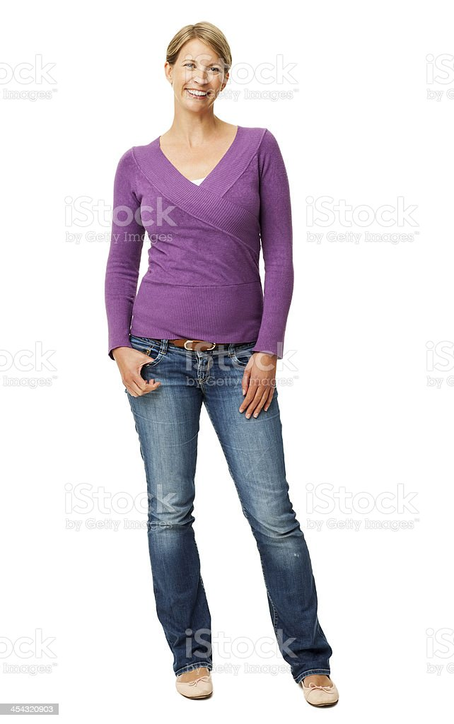 Confident Woman With Hands In Pockets stock photo