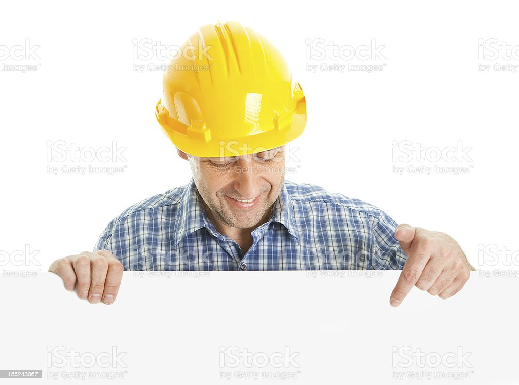 Confident worker presenting empty board royalty-free stock photo