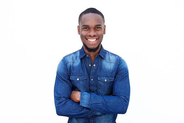 Confident young african guy stock photo