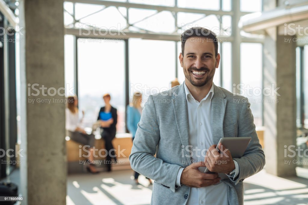 Confident young businemanss stock photo