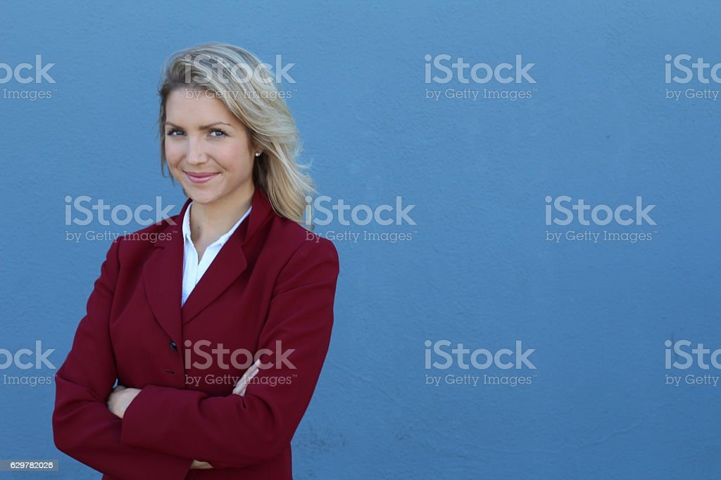 Confident young businesswoman wearing formal classic blazer stock photo