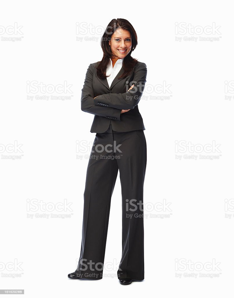 Confident young businesswoman with her arms crossed royalty-free stock photo