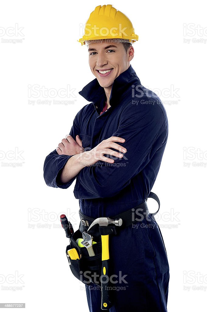 Confident young construction worker royalty-free stock photo