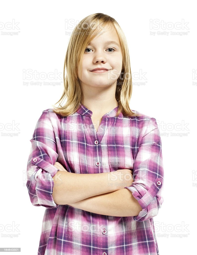 Confident Young Girl (Isolated on White) stock photo