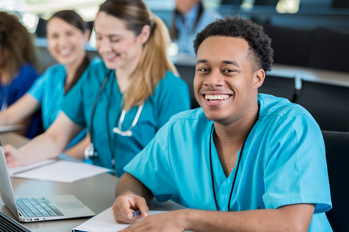 istock Confident young man enjoys medical training class 1019065702