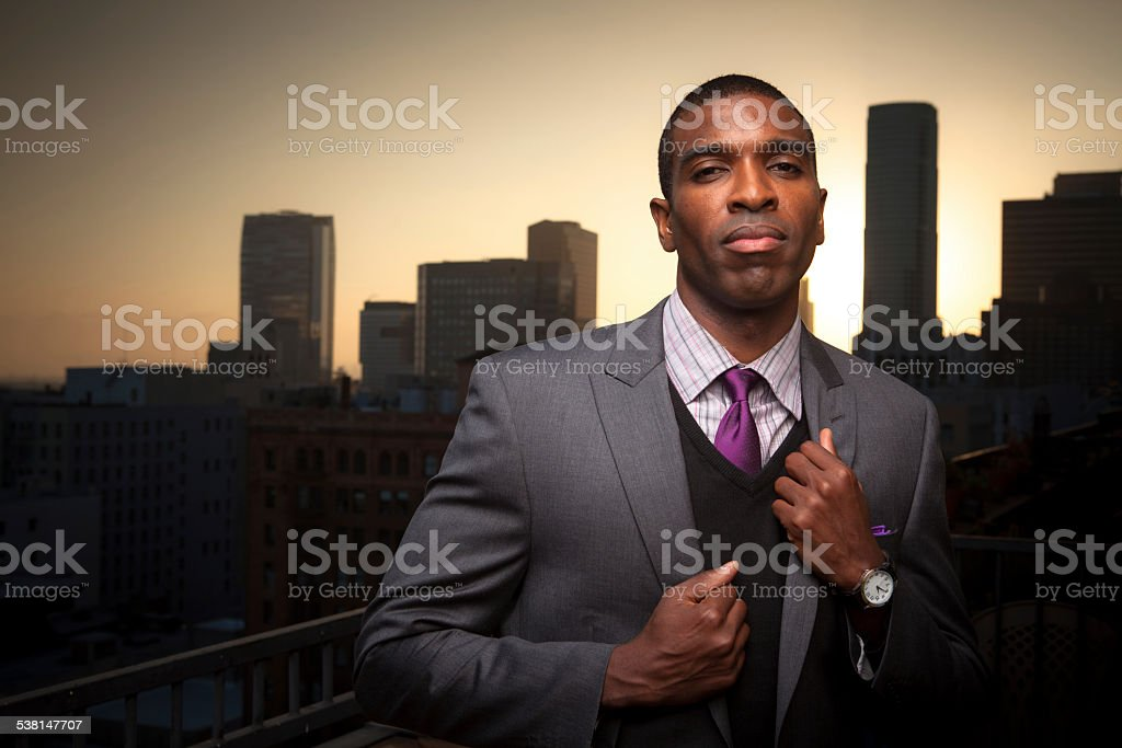 Confident Young Man Posing in Financial District stock photo