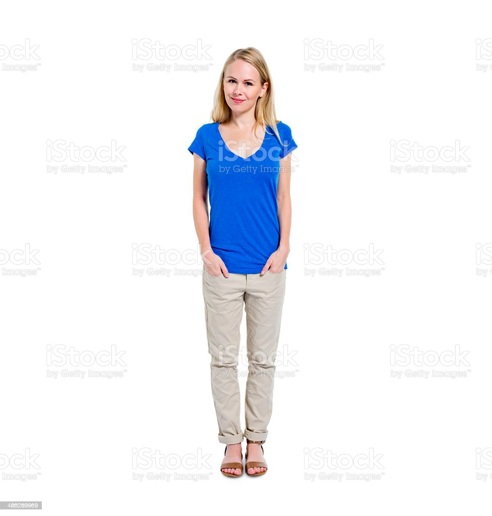 Confident Young Woman Standing and Smiling stock photo
