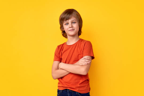 Confident youngster looking at camera stock photo