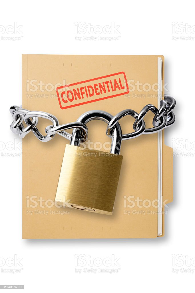 Confidential file folder with locked padlock and chain stock photo
