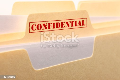 A close up of the tab from a confidential file folder.