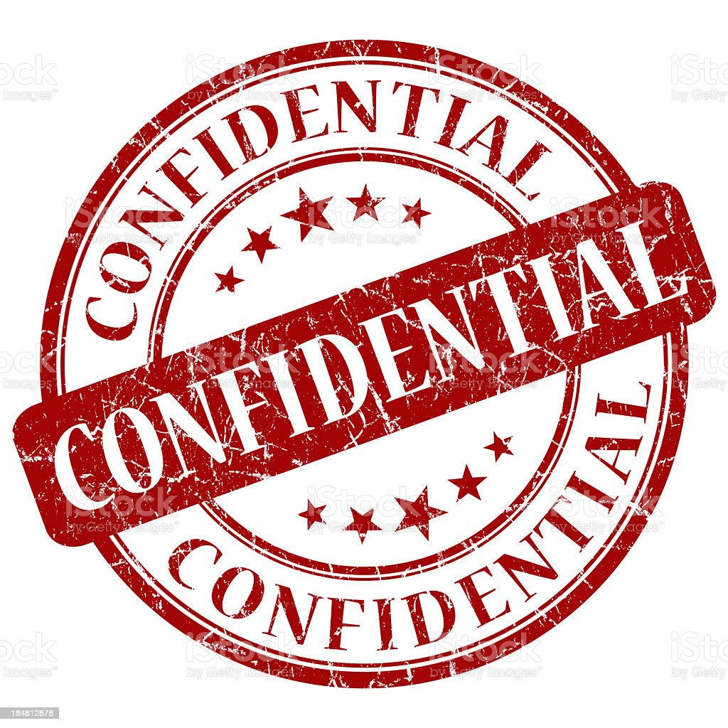 confidential red round stamp stock photo