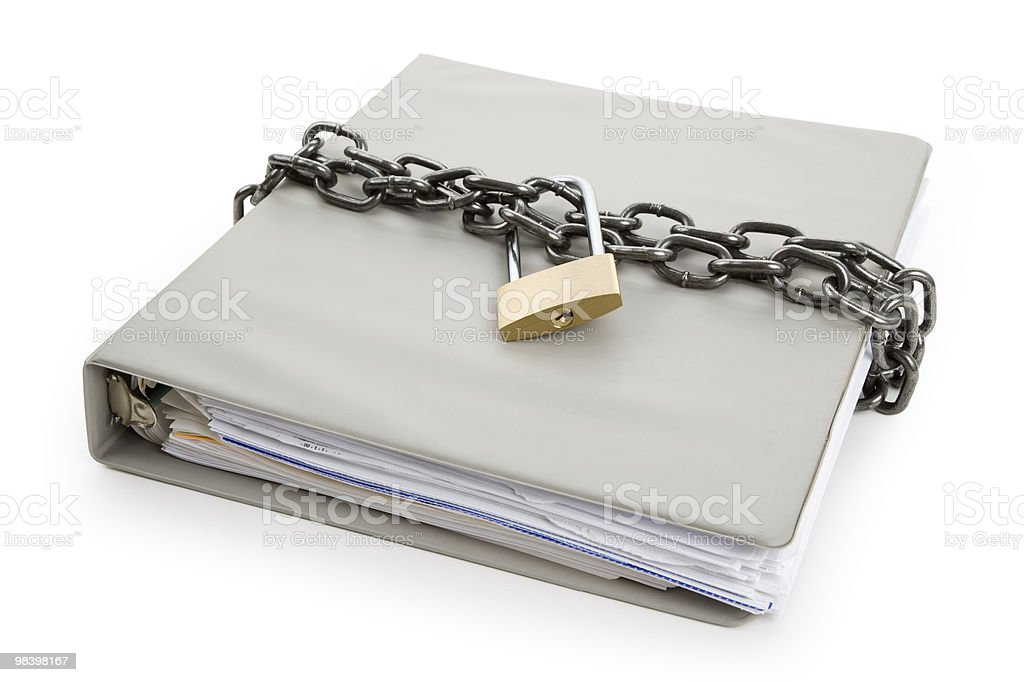 Confidential three ring binder with chain and lock royalty-free stock photo